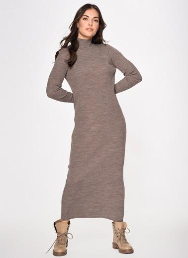 Loves You Yarım Balıkçı Triko Elbise Kahve